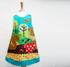 Girlsbabytoddler pinafore dress in a woodland by wildthingsdresses, £40.00