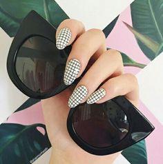 Nail art, black & white, grid pattern