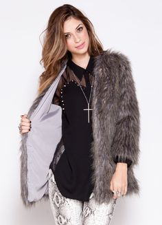 """Faux fur jacket that features an open front, long sleeves, and full lining.    100% polyester  28"""" length  Model is wearing size S"""