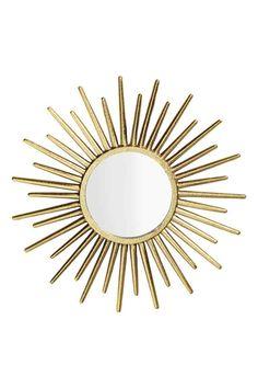 Specchio rotondo: Specchio rotondo con cornice in metallo lavorato. Viti non incluse. Diametro dello specchio 12 cm, diametro della cornice circa 33 cm.