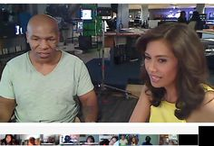 Yes that's Mike Tyson as he does a Google+ Hangout at My FOX LA studio & hosted by Maria Quiban.