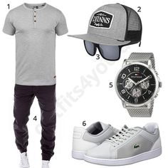 Graues Herren-Outfit mit Djinns Snapback (m0450) #outfit #style #fashion #menswear #mensfashion #inspiration #shirt #cloth #clothing #männermode #herrenmode #shirt #mode #styling #sneaker #menstyle