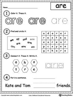 Practice recognizing the sight word ARE with My Teaching Station Learning Sight Words printable worksheet. Your child will practice recognizing the letters that make up the sight word by tracing, writing and finally reading it in a sentence.
