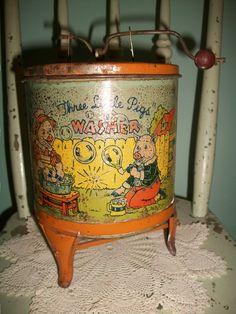 Antique tin three pigs tin washer SALE! by bebesandbruins on Etsy