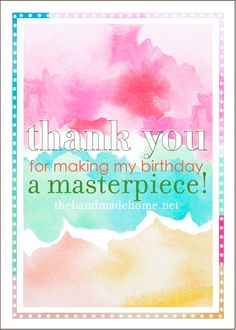 watercolor party: free printable thank you tag  {the handmade home}