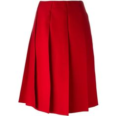 Nina Ricci pleated skirt (121.505 RUB) ❤ liked on Polyvore featuring skirts, red, pleated skirt, nina ricci skirt, nina ricci, red skirt and red pleated skirt