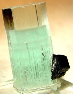 Aquamarine phantom with Schorl. From Shigar Valley, Baltistan, Northern Areas, Pakistan That's a tall drink of water!!!