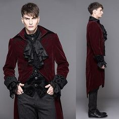Antique Red Embroidered Victorian Gothic Fashion Dress Trench Coat Men SKU-11401071