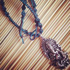 Ganesha Necklace Hemp Cord Necklace Mens Necklace by ElicasArt
