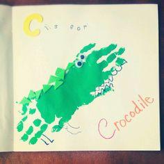 C is for Crocodile. Hand print art for pre school. :)