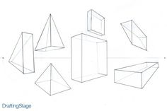 Two Point Perspective Drawing Have students draw 2 point perspective of geometric forms of a specific size