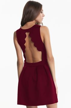 #AdoreWe #ROMWE Cute Dress - Designer ROMWE Sleeveless Backless Pleated Wine Red Dress - AdoreWe.com