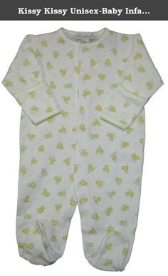 Kissy Kissy Unisex-Baby Infant Baby Chickadees Print Footie-White With Yellow-Newborn. Kissy Kissy baby unisex clothes soft cotton Kissy Kissy infant white footie with print of yellow chicks. The sleeves fold over to cover the hands.