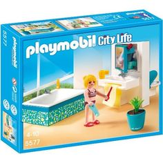 Take a relaxing bath or get ready for the day in this modern bathroom Playmobil playset. Play Mobile, Bathroom Sets, Modern Bathroom, Toys For Girls, Kids Toys, Building Sets For Kids, Playmobil Sets, Mirror Cabinets, Toy Rooms