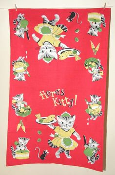 Here's Kitty tea towel