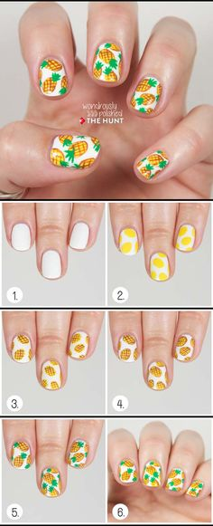 Nail Art Designs for Teens - Pineapple Print Nail Tutorial - Awesome DIY Summer Summer Nailart Designs - Easy and Cute Styles with Glitter and Gel - Works Great For Spring and Summer as well as Fall - Step By Step Tutorials with Crazy Designs With Rhinestones - Great Styles For Teens and For Kids - https://thegoddess.com/nail-art-designs-for-teens