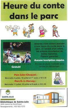 Story hour in the park - Bibliothèque de Sainte-Julie QC