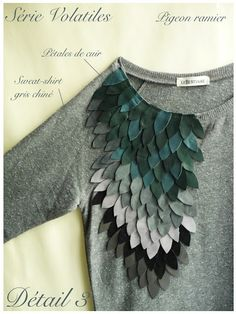 """Lebestiaire """"Série Volatiles"""" sweat-shirt embroidered with leather feathers"""