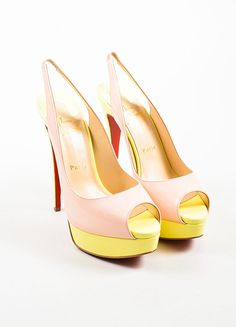 """Lady"""" is an elegant pump featuring a flirty peep toe, 150mm stiletto heel, elasticized slingback strap, and a leg-extending exposed platform. Ultra-fun color-block design in a whimsical color combinat"""