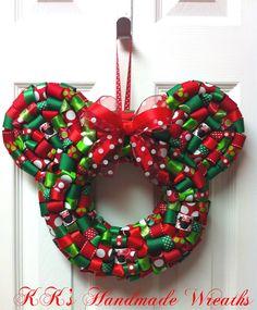Christmas Minnie Mouse Ribbon Wreath by KKsHandmadeWreaths on Etsy, $25.00