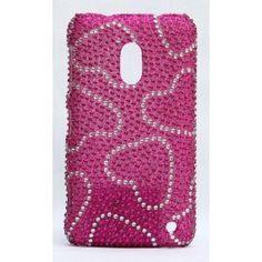 Upea Bling Bling suojakuori Lumia 620:n. Jalokivistä tehdyt sydänkuviot. Bling Bling, Hot Pink, Pink