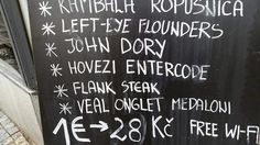 Prague restaurant menu