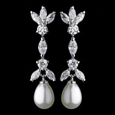 Marquise Cubic Zirconia & Pearl Drop Bridal Earrings 3891