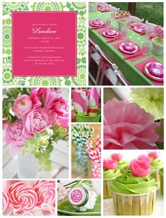 Lime Green and Hot Pink Theme for bridal shower