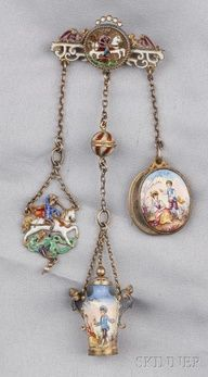 Renaissance Revival Silver-gilt and Enamel Chatelaine (Brooch). Victorian Jewelry, Antique Jewelry, Vintage Jewelry, Jewelry Gifts, Jewelry Box, Fine Jewelry, Jewelry Stores, Mens Jewellery, Silver Jewellery
