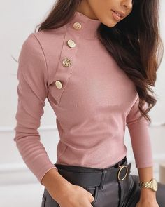 Buttoned Detail Solid Ribbed Design Sweater Shop- Women's Best Online Shopping - Offering Huge Discounts on Dresses, Lingerie , Jumpsuits , Swimwear, Tops and More. Trend Fashion, Fashion 2020, Latest Fashion, Cheap Fashion, Korean Fashion, Style Fashion, Casual Sweaters, Sweaters For Women, Women's Dresses