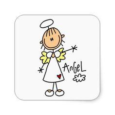 Stick Figure Angel T-shirts and Gifts Sticker