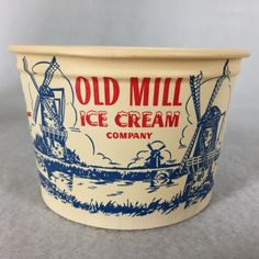Vintage Ice Cream Waxed Cups Old Mill Sundaes Lily Container Co. | eBay