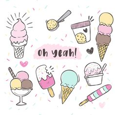 Free Ice Cream Graphics - Free Pretty Things For You - Kritzeleien - Yummy Eis Draw Ice Cream, Ice Cream Art, Ice Cream Sketch, Doodle Drawings, Easy Drawings, Doodle Art, Ice Cream Sign, Ice Cream Theme, Ice Cream Illustration