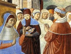 ❤ - BENOZZO GOZZOLI (1421 - 1497) - St. Augustine - Scenes with St. Ambrose (detail). 1464-65. Fresco. 220 x 230 cm. Apsidal Chapel of Sant' Agostino, San Gimignano, Italy.
