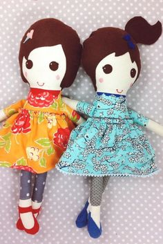 RESERVED for Kimberly - Two Custom Fabric Dolls - Bless Her Heart Dolls - Handmade - Stuffed Rag Cloth Doll