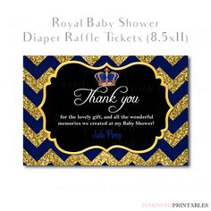 Royal Prince Baby Shower Printable Thank you card