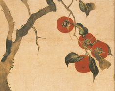 [Detail: Persimmon Tree, Edo period late autumn 1816 Sakai Hoitsu (Japanese, Two-panel screen; ink and color on paper The Metropolitan Museum of Art. Japanese Art Styles, Japanese Artwork, Japanese Prints, Japan Painting, Plant Painting, Art Asiatique, Art Japonais, Inspiration Art, Japan Art