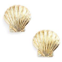 ki-ele 'Manini Sunrise' Shell Stud Earrings ($38) ❤ liked on Polyvore featuring jewelry, earrings, accessories, gold, stud earrings, handcrafted jewellery, handcrafted earrings, 14k stud earrings, 14 karat gold stud earrings and seashell jewelry