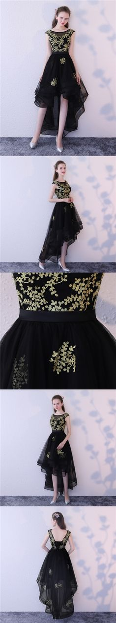 2017 Homecoming Dress Black Tulle Gold Appliques Short Prom Dress Party Dress JK242
