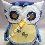 Owl baby shower diaper cake. Unique baby shower centerpiece or table decorations #OwlDiaperCake #owl #diapergifts #diapercake #owlbabyshower #babyshowercenterpieces #tabledecorations #babyboy #newbornbabyboy #blueforboy #diapers #pampers by BabyFavorsAndGifts.com