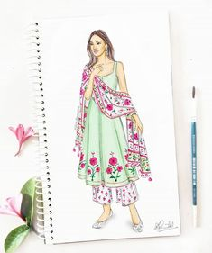 Pretty pink florals to brighten up your rainy days 🌷🌸 Love these bright motifs on a pastel green kurta with a printed dupatta! What's your favorite rainy day style? Dress Design Drawing, Dress Design Sketches, Fashion Design Sketchbook, Fashion Design Drawings, Dress Drawing, Fashion Sketches, Wedding Dress Sketches, Fashion Drawing Dresses, Fashion Illustration Dresses