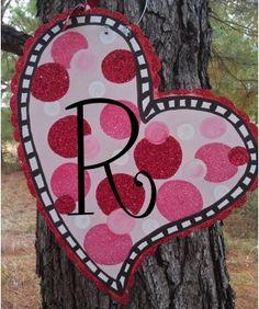Valentine Door Hanger    http://threelindys.com/personalized-gifts/gifts-for-home/door-hangers/door-hanger-heart