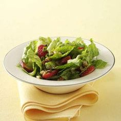 Crunchy Romaine Strawberry Salad Recipe from Taste of Home -- shared by Leslie Lancaster of Zachary, Louisiana