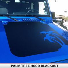 Custom Custom Palm Tree Jeep Blackout Decal fits Jeep Wrangler YJ, TJ, JK 1987-2015 Select your Jeep Model/Year and the type of vinyl you like! Available in a variety of finishes, comes with a free installation kit ($13.95 value!). The kit includes 3.5oz Action Tac Application Spray, Plastic felt lined Squeegee, and a Utility Knife making installation a breeze.