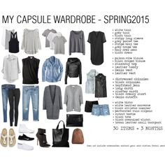 CAPSULE WARDROBE - SPRING2015 by marissa-m-g on Polyvore featuring Topshop, J.Crew, Velvet, Helmut Lang, Victoria's Secret, Athleta, Violeta by Mango, RVCA, Whistles and Madewell