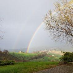 Rainbow over Staffolo in Le Marche, Italy