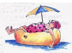 Lady in bathing suit floating in inner tube with sun umbrella attachedFor a fun card, pair this stamp with (summer sun clipart) Image Digital, Art Impressions Stamps, Old Folks, Cartoon People, Illustration, Funny Cards, Whimsical Art, Beach Art, Girl Humor
