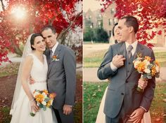 Lace Veil, V-Neck Wedding Dress, Fall Wedding, Orange Flowers, Grey Suit, Succulents.    Erica & Tom  Colorful Villanova Wedding
