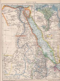ÄGYPTEN / Egypt 1893 Original Landkarte Lithographie / Antique Map