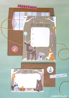 Free Printable: woodland animal party invitations